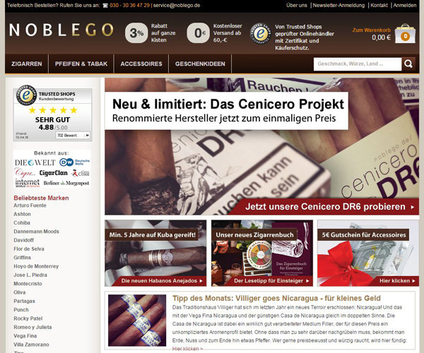 Noblego - Zigarren, Tabak, Humidore mit Sofort-Versand kaufen